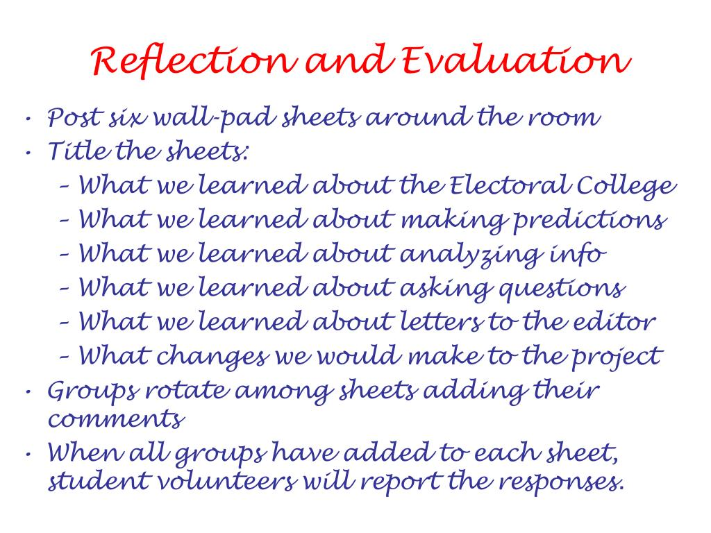 Reflection and Evaluation