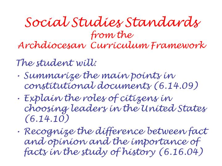 Social studies standards from the archdiocesan curriculum framework