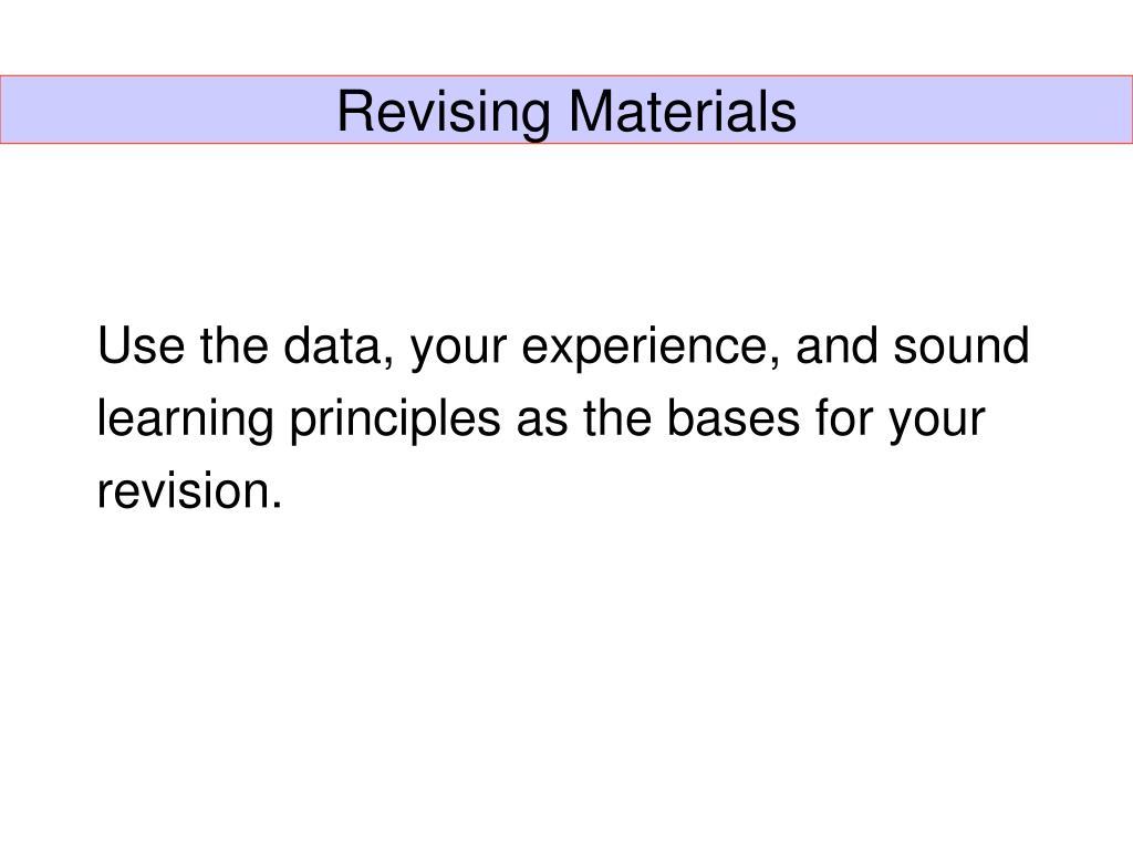 Revising Materials