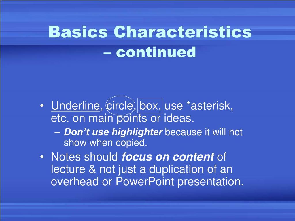 Basics Characteristics