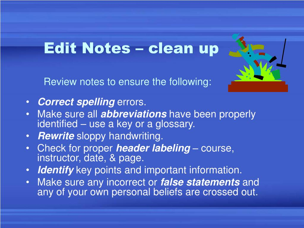 Edit Notes – clean up