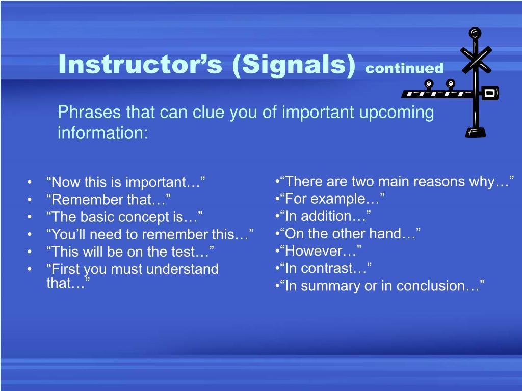 Instructor's (Signals)