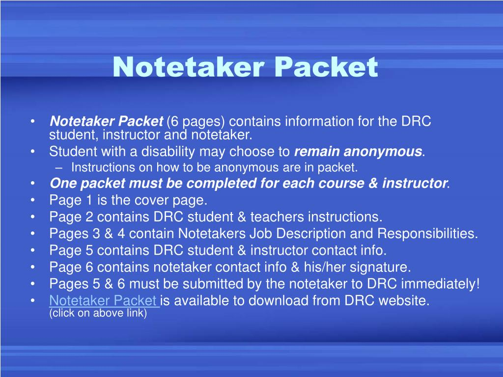 Notetaker Packet