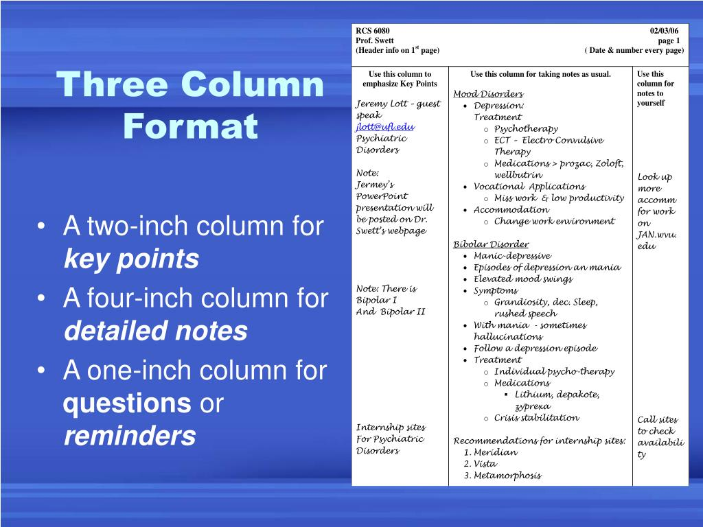 Three Column Format