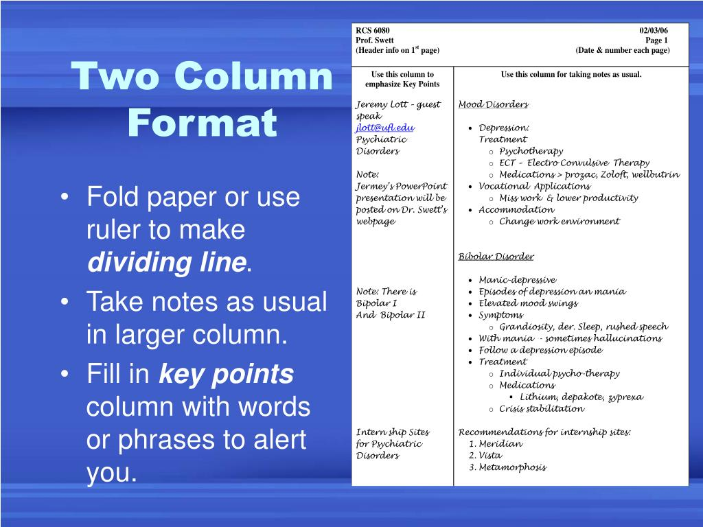 Two Column Format