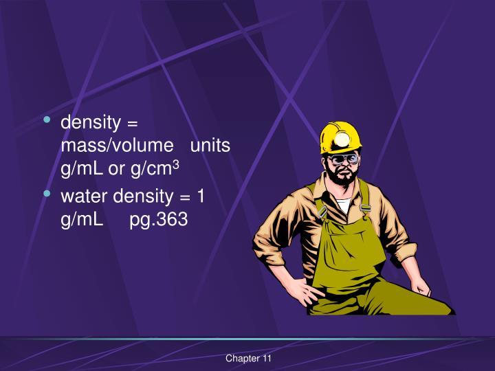 density = mass/volume   units g/mL or g/cm