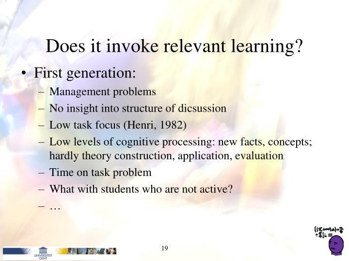 Does it invoke relevant learning?
