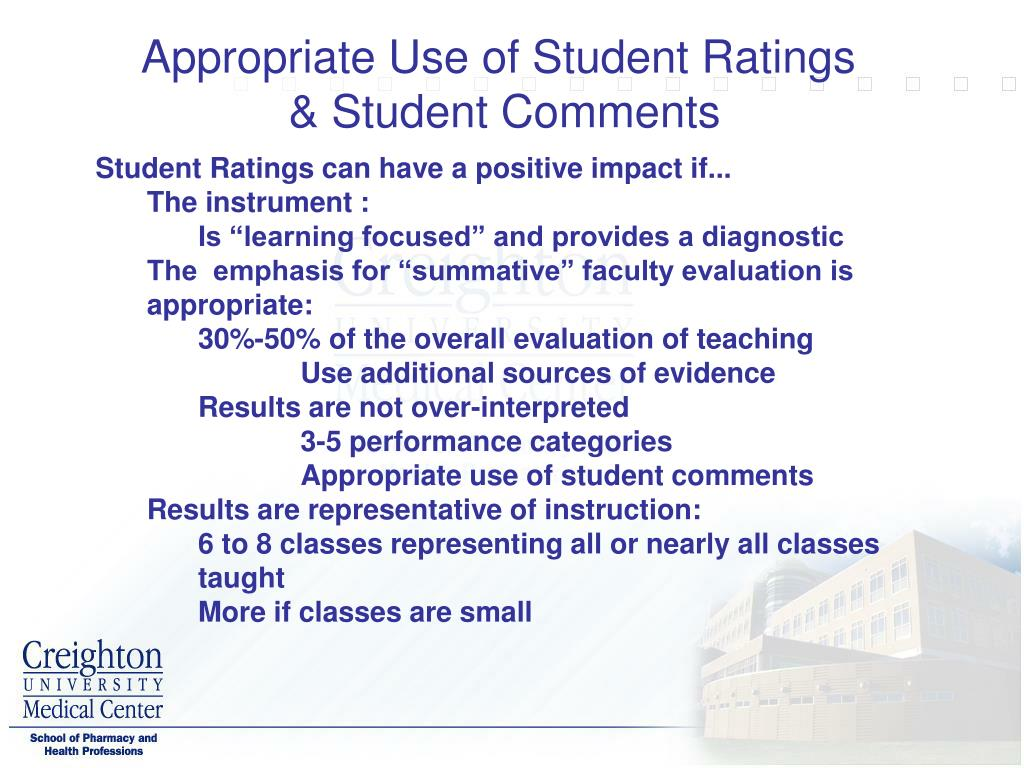 Appropriate Use of Student Ratings
