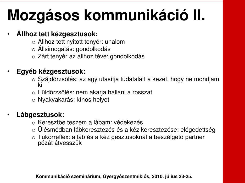Mozgásos kommunikáció II.