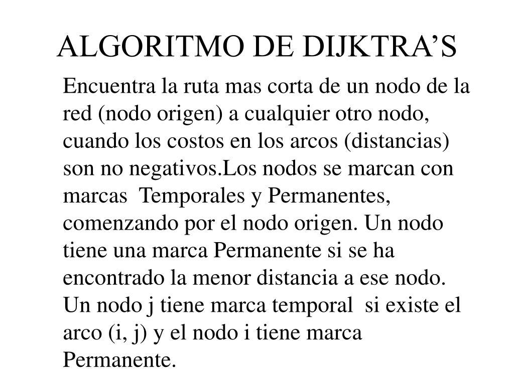 ALGORITMO DE DIJKTRA'S