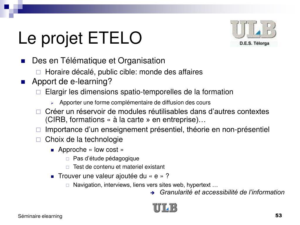 Le projet ETELO