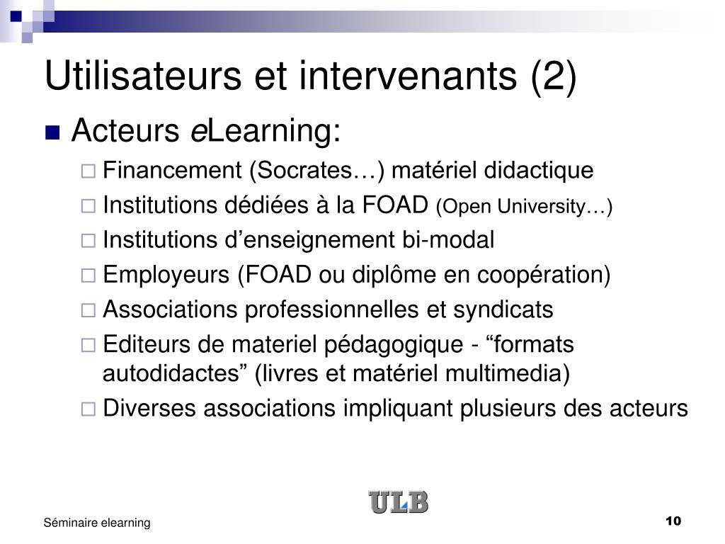 Utilisateurs et intervenants (2)