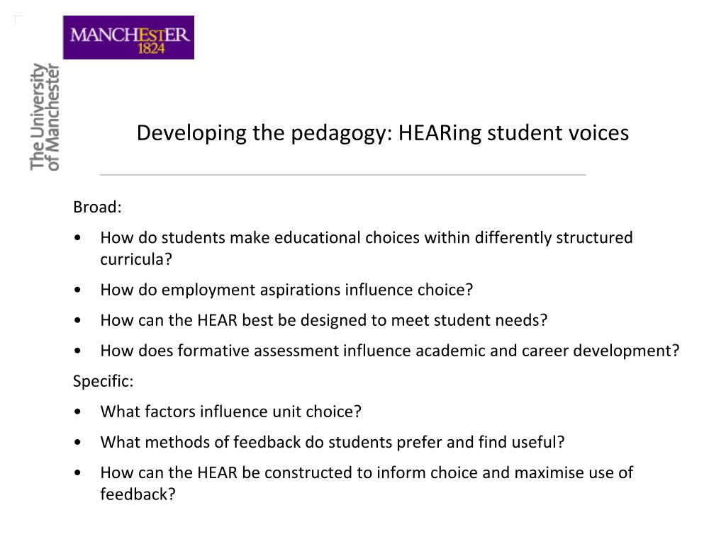 Developing the pedagogy: HEARing student voices