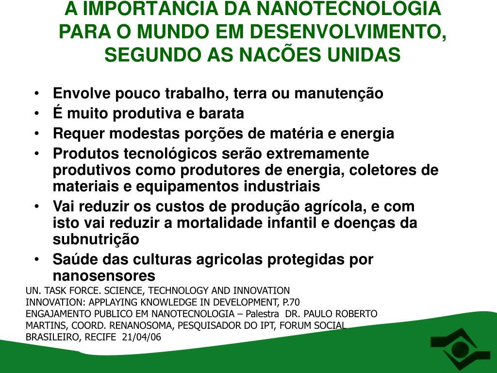 A IMPORTÂNCIA DA NANOTECNOLOGIA PARA O MUNDO EM DESENVOLVIMENTO, SEGUNDO AS NACÕES UNIDAS