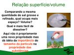 rela o superf cie volume