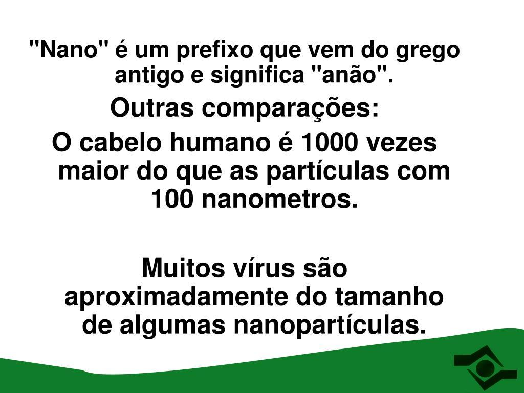 """""""Nano"""" é um prefixo que vem do grego antigo e significa """"anão""""."""
