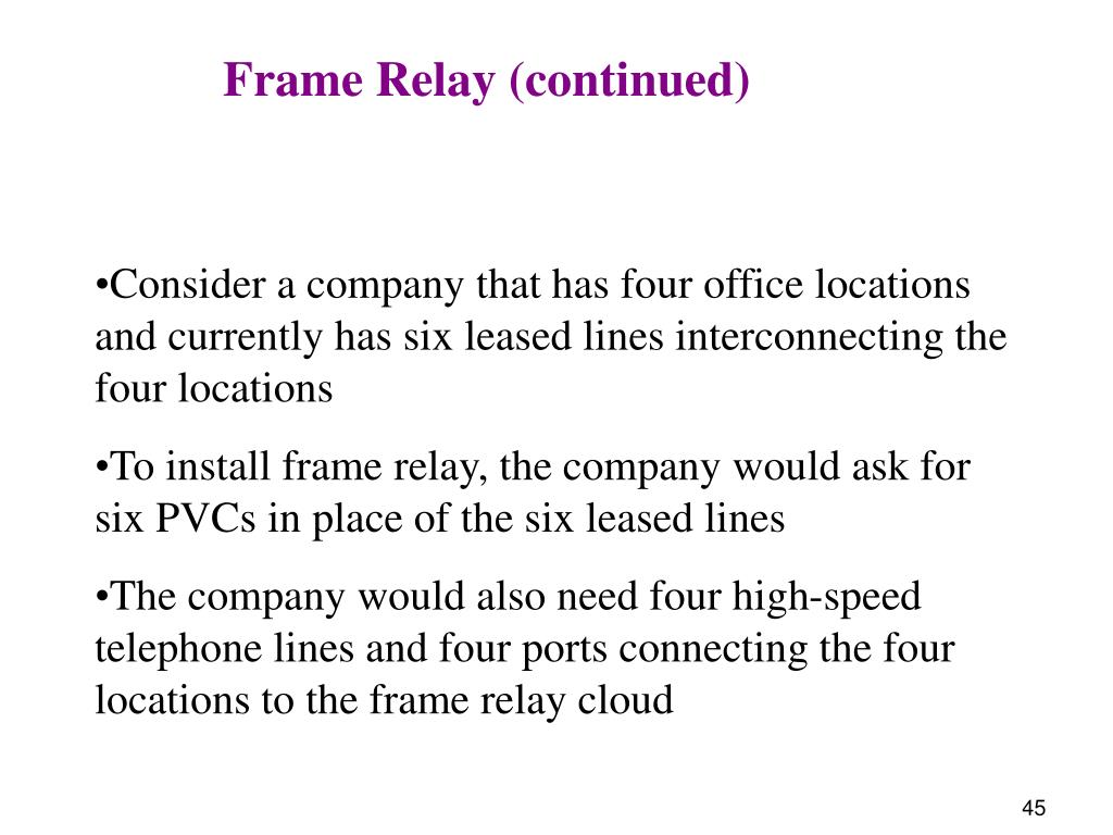 Frame Relay (continued)