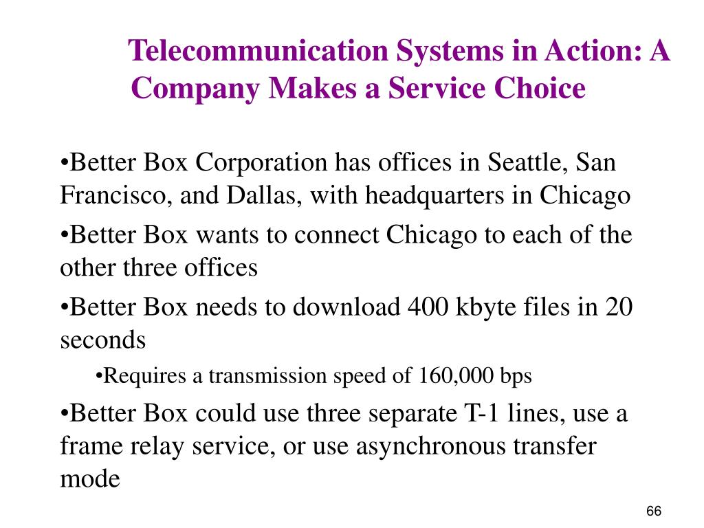 Telecommunication Systems in Action: A