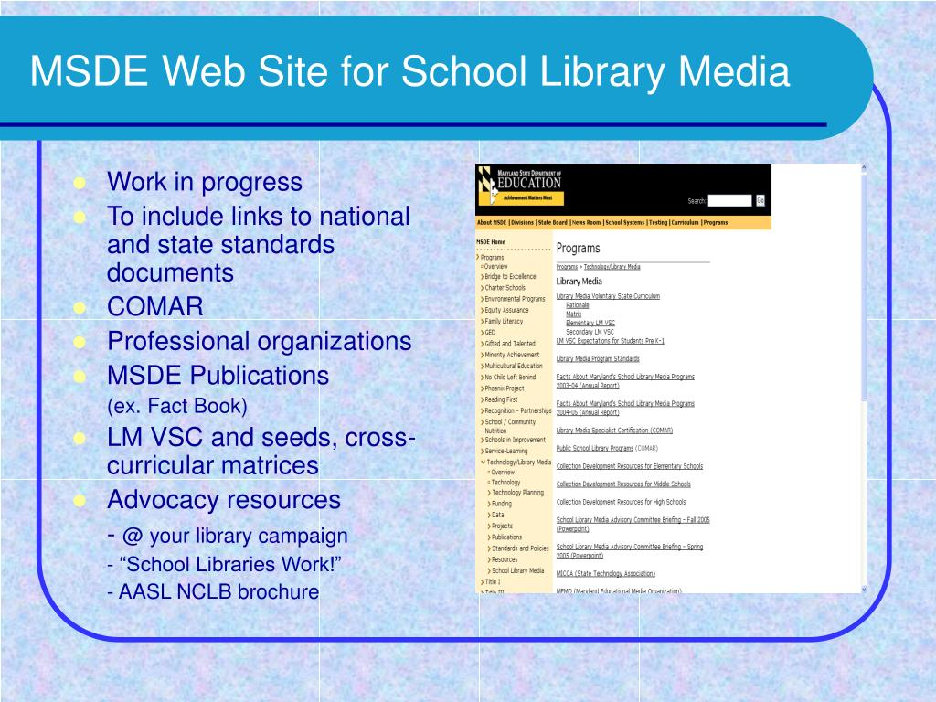 MSDE Web Site for School Library Media