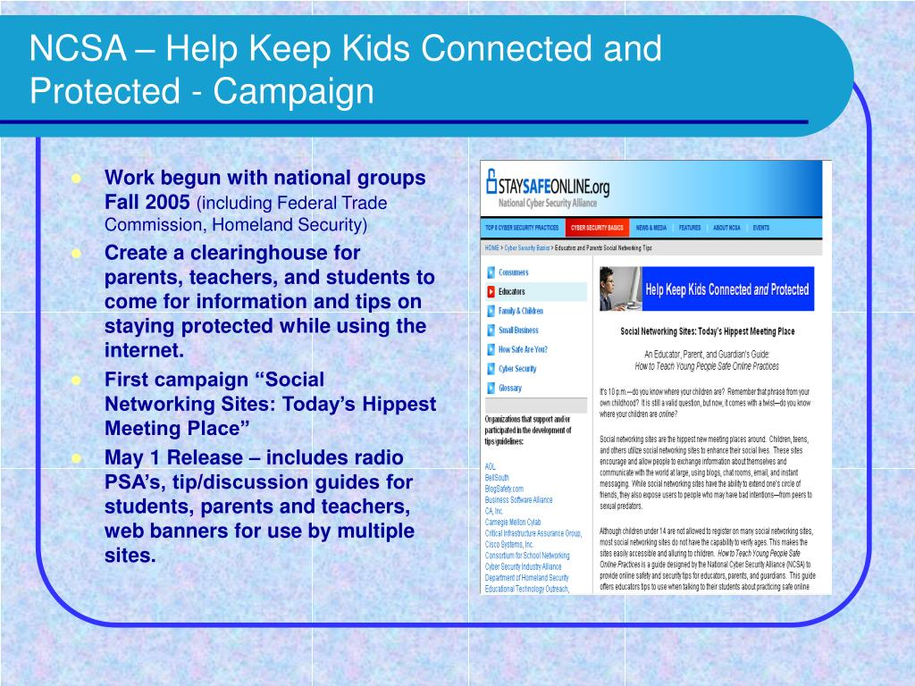 NCSA – Help Keep Kids Connected and Protected - Campaign