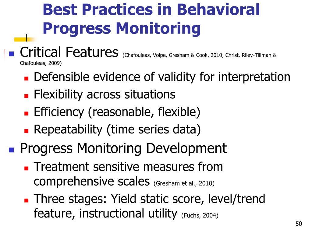 Best Practices in Behavioral Progress Monitoring