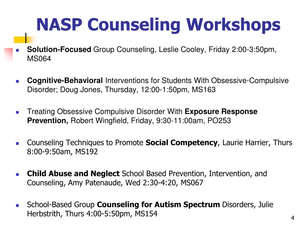 NASP Counseling Workshops