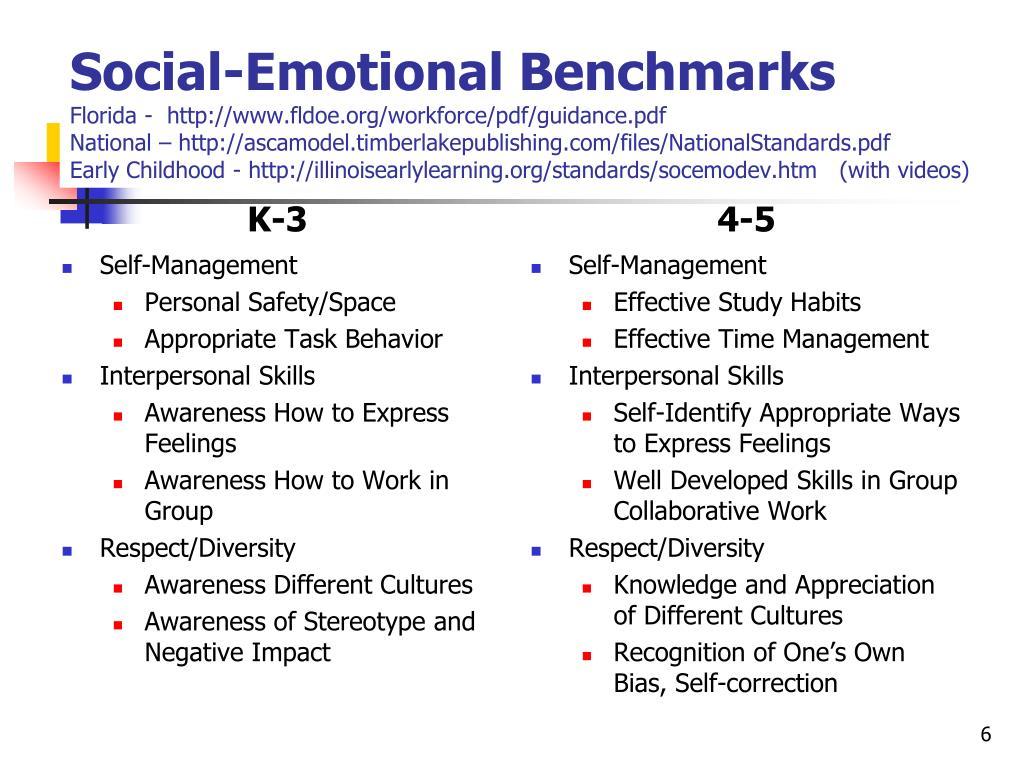 Social-Emotional Benchmarks