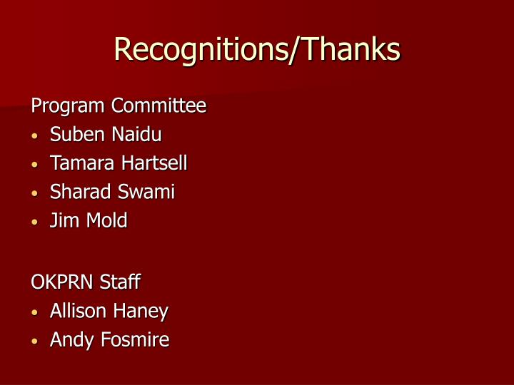Recognitions thanks