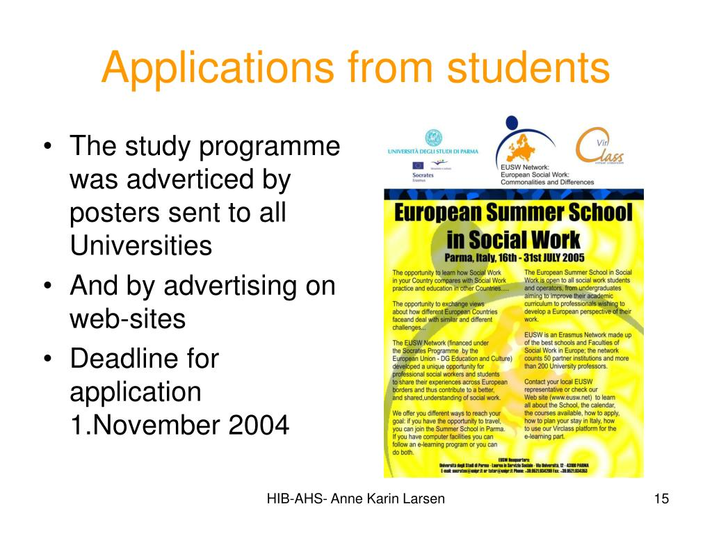 Applications from students