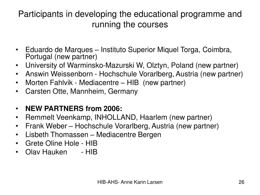 Participants in developing the educational programme and running the courses