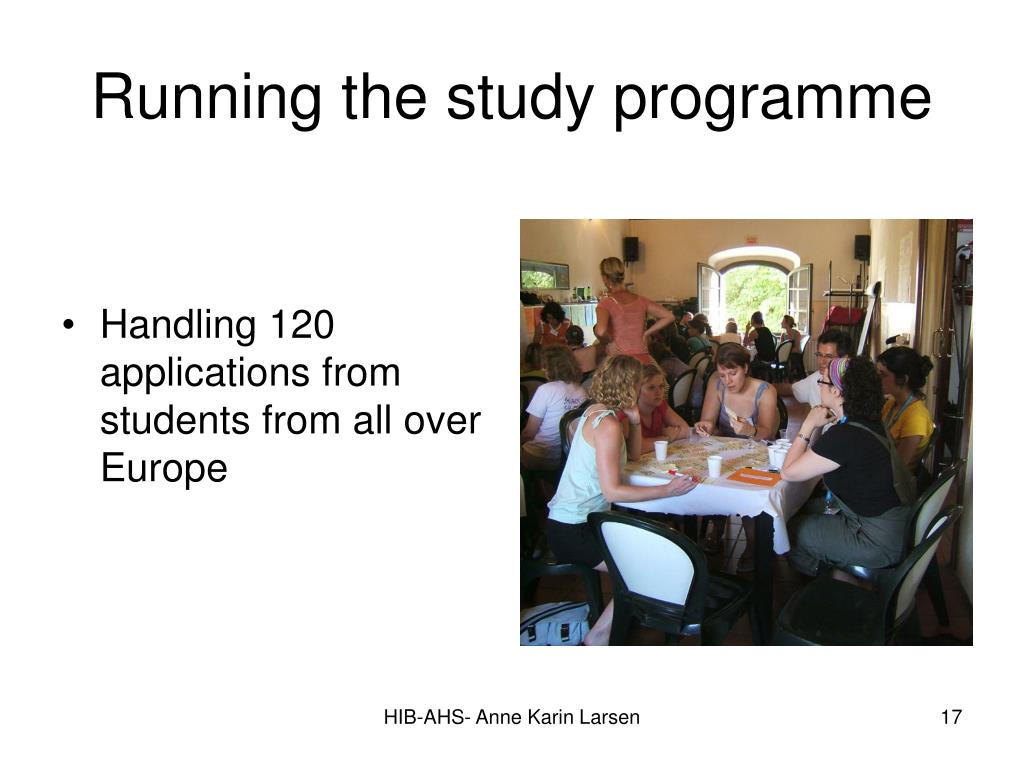 Running the study programme