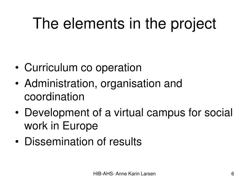 The elements in the project