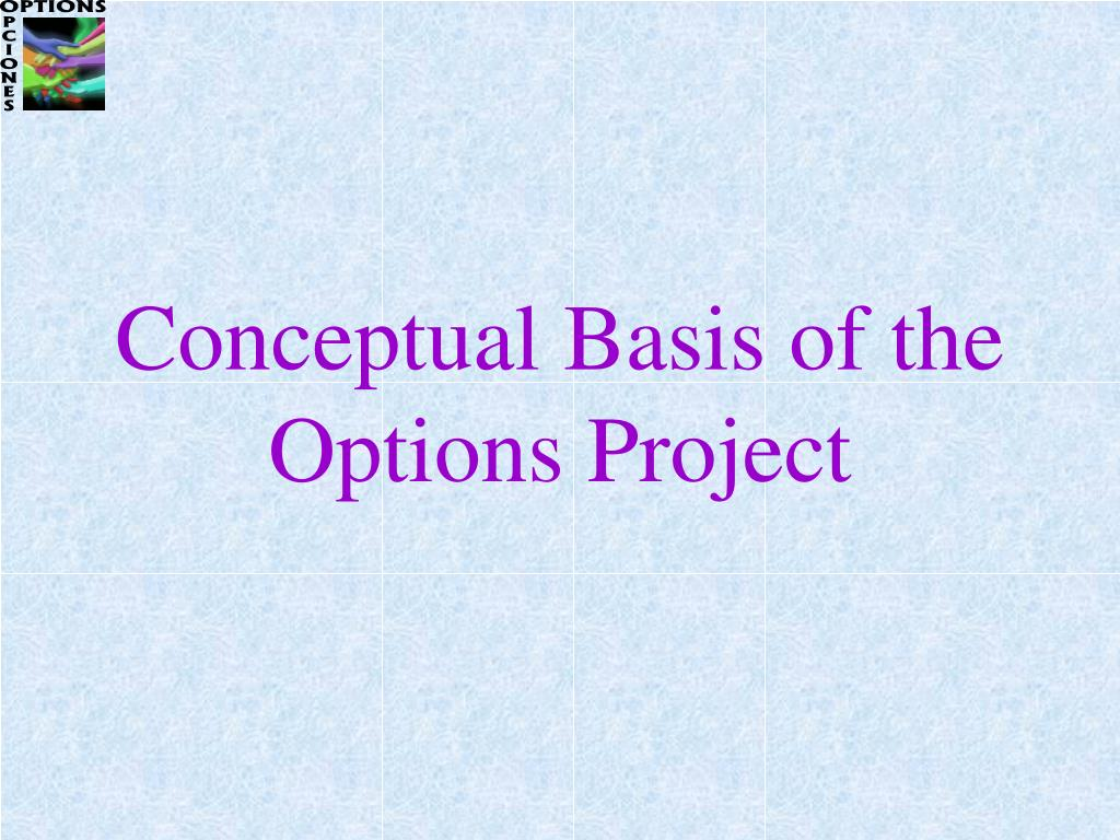 Conceptual Basis of the Options Project