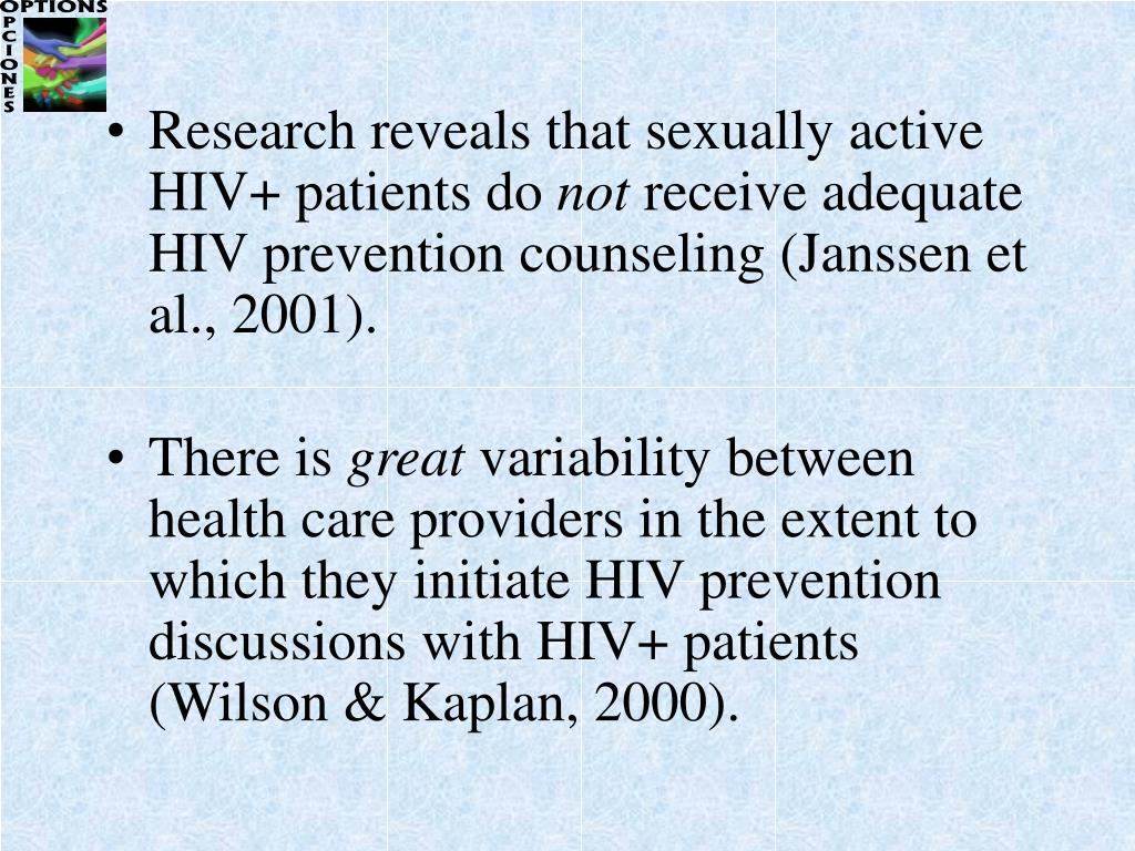 Research reveals that sexually active HIV+ patients do
