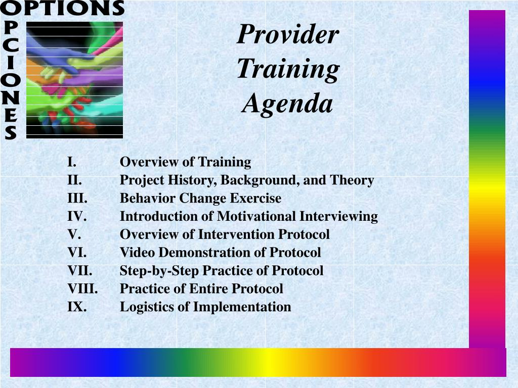 Provider Training Agenda