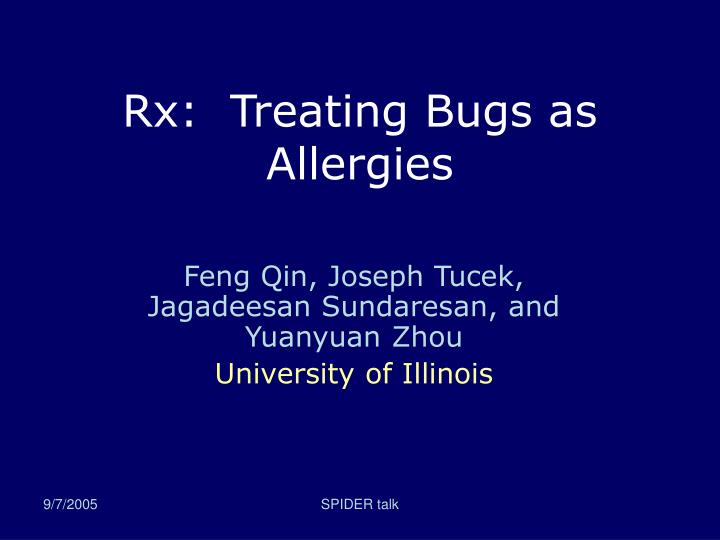 Rx treating bugs as allergies l.jpg
