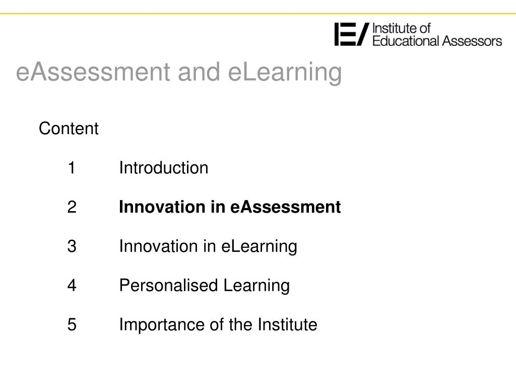 eAssessment and eLearning
