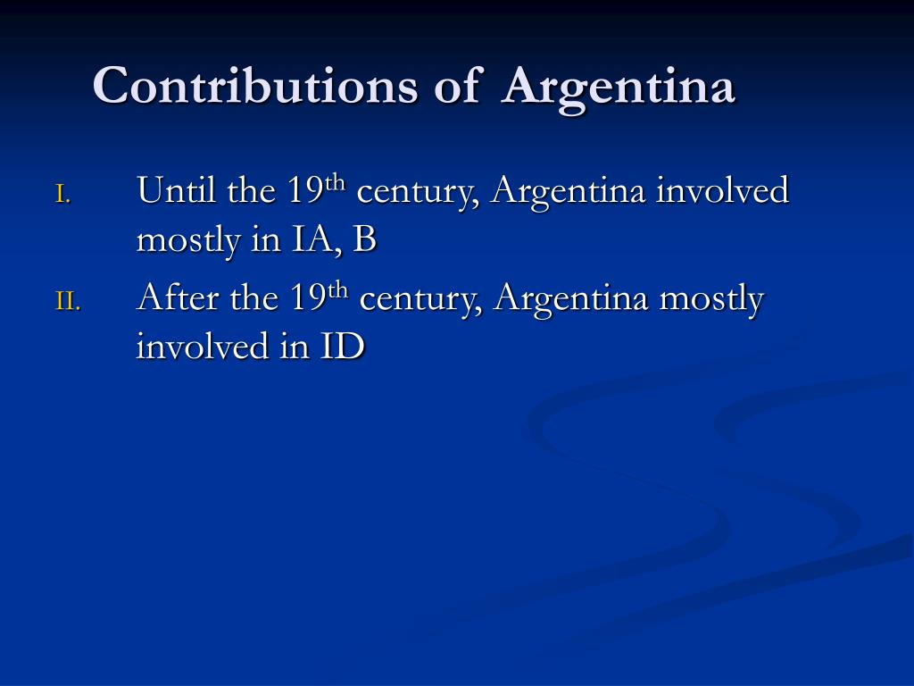 Contributions of Argentina