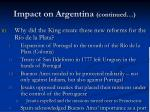 impact on argentina continued42