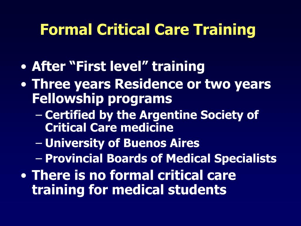 Formal Critical Care Training