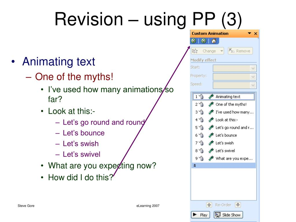 Revision – using PP (3)