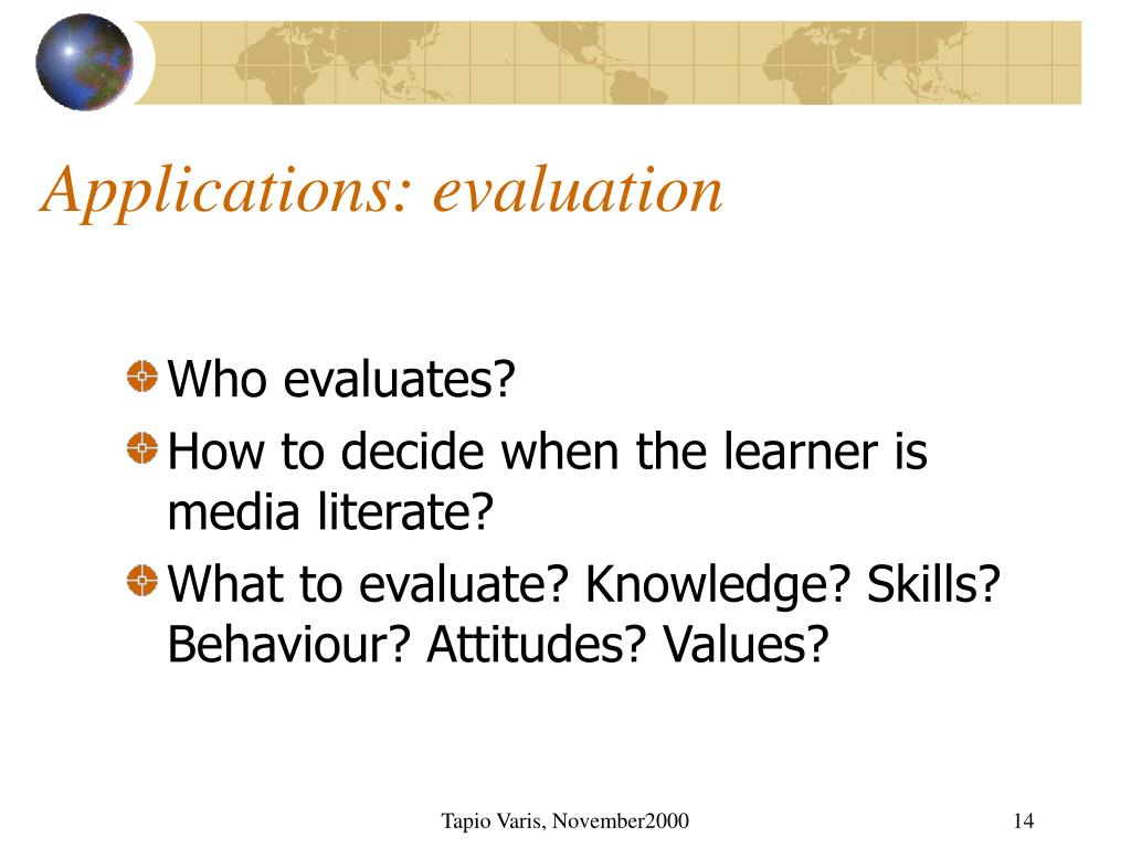 Applications: evaluation