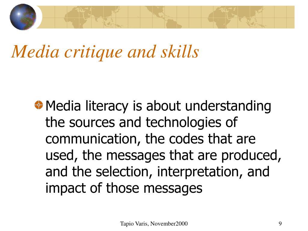 Media critique and skills