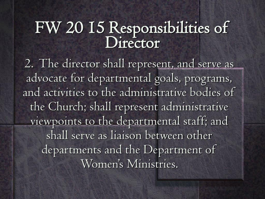 FW 20 15 Responsibilities of Director