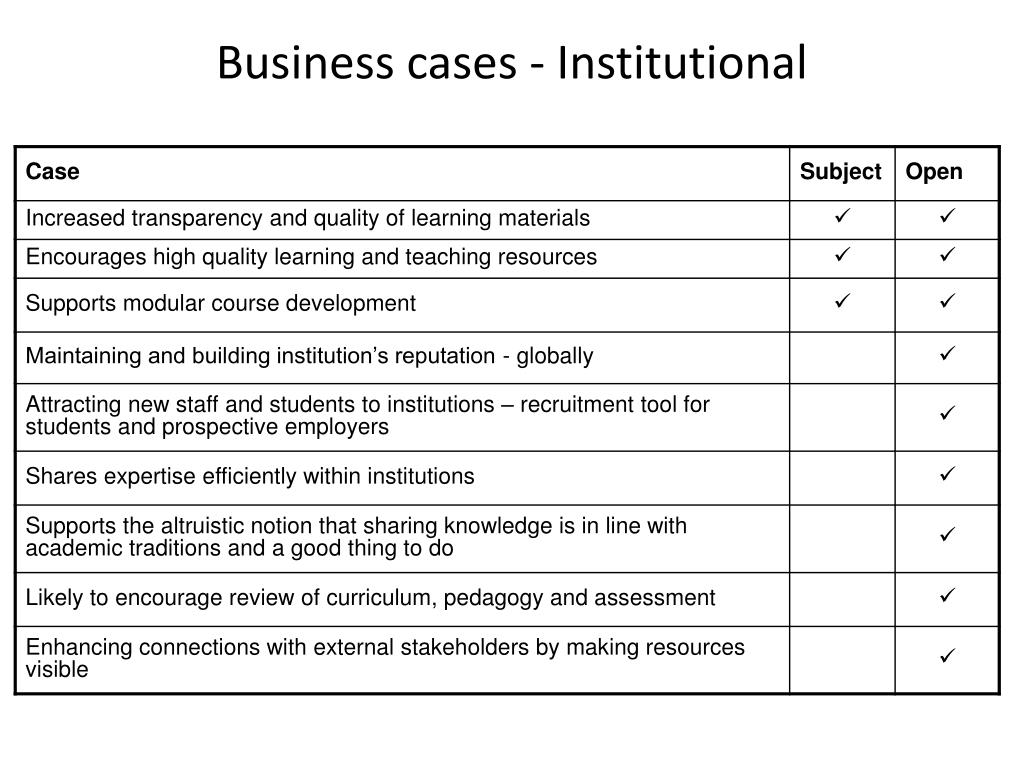 Business cases - Institutional