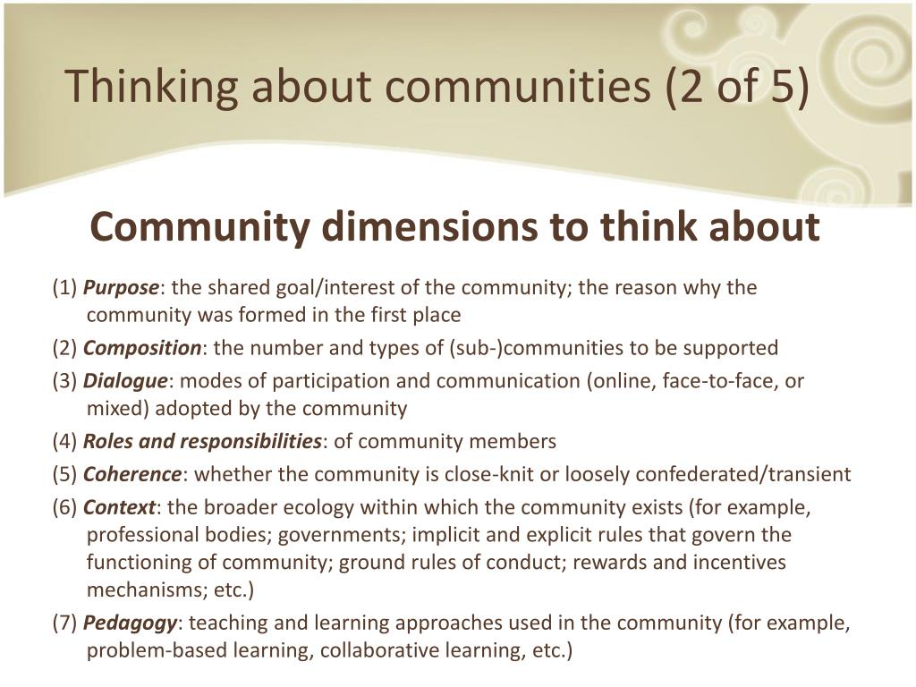Thinking about communities (2 of 5)