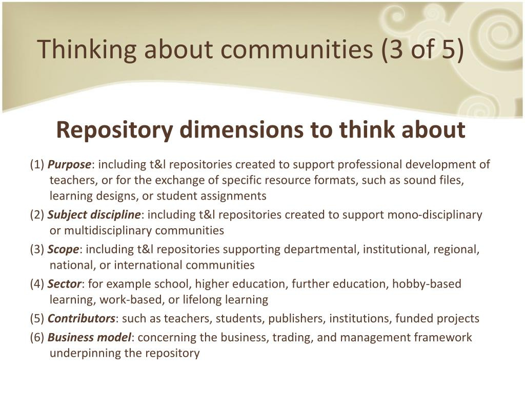 Thinking about communities (3 of 5)