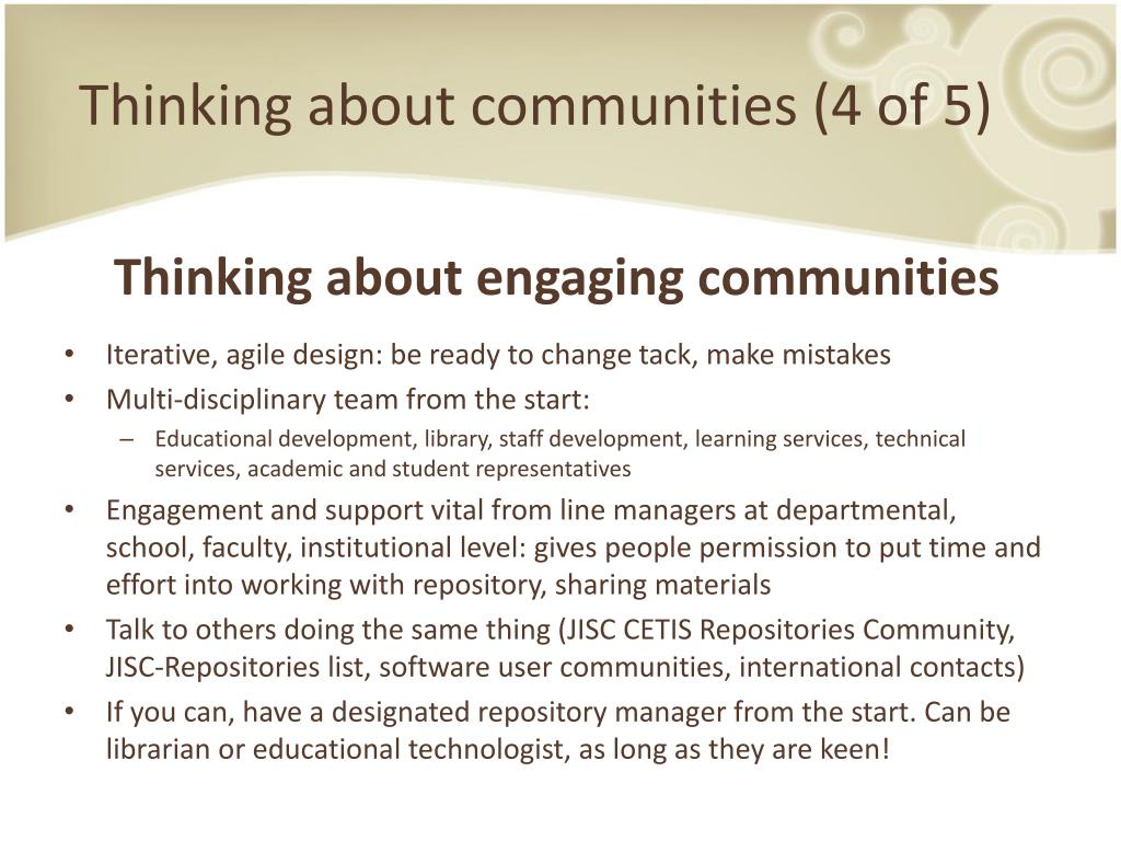 Thinking about communities (4 of 5)