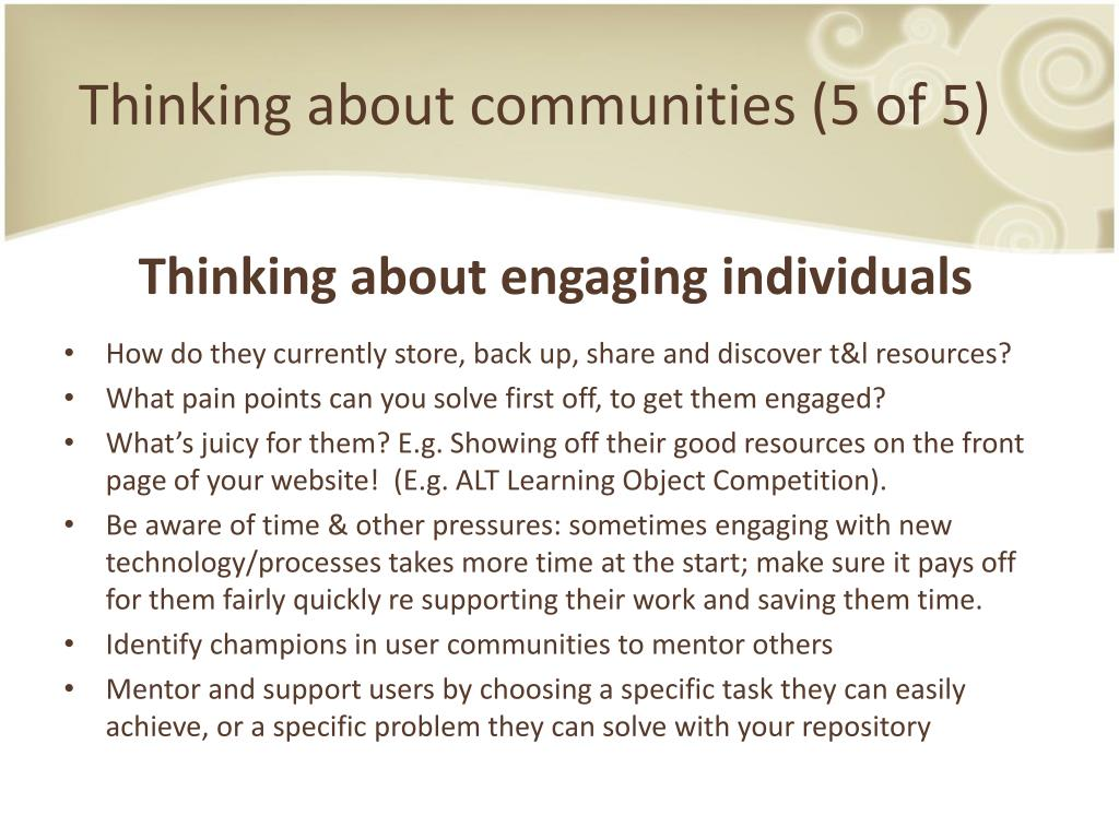 Thinking about communities (5 of 5)