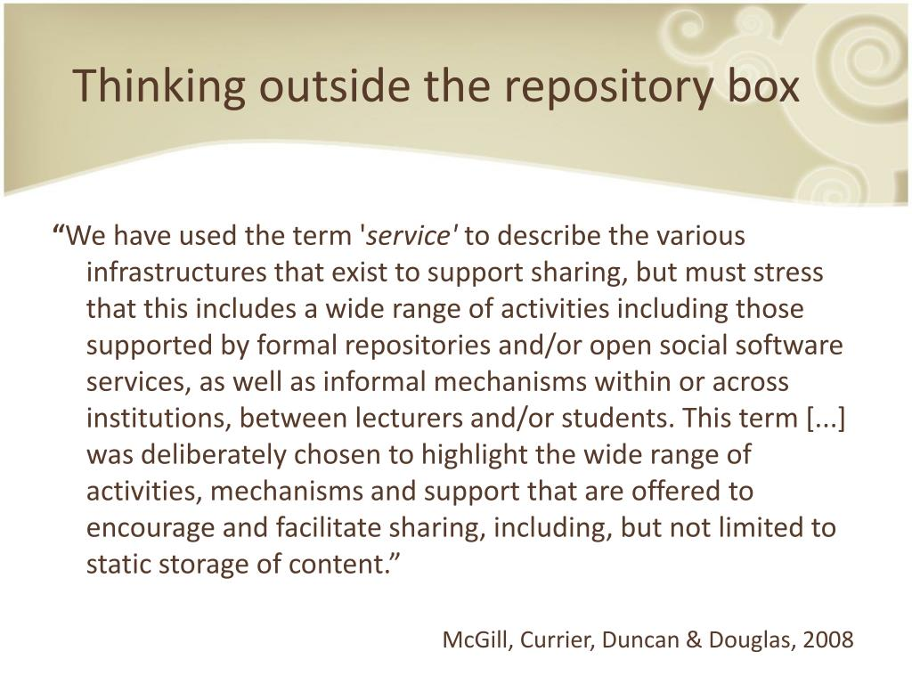 Thinking outside the repository box